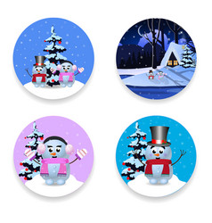 Christmas new year round signs set with cute vector