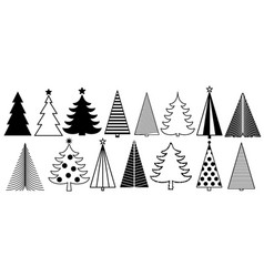christmas tree graphic art set new year fir tree vector image