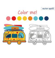 Coloring book summer van vector
