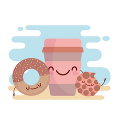 Cookie donut and coffee cup menu character cartoon vector