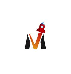 Creative m letter rocket logo vector