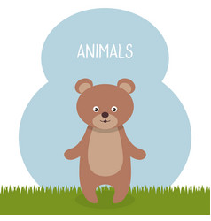 Cute bear in the field landscape character vector
