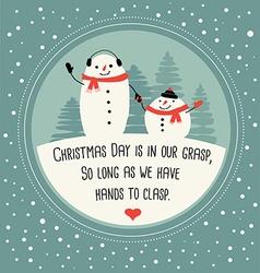 Cute snowman greeting card design vector image