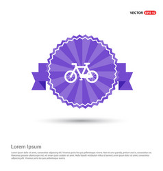 cycle icon - purple ribbon banner vector image