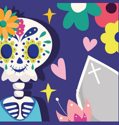 day dead skeleton with coffin flowers vector image