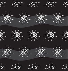 Drawing sun on black striped background pattern vector