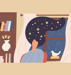 Dreaming girl with starry sky in long hair sitting vector