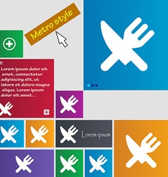 Eat Cutlery icon sign Metro style buttons Modern vector