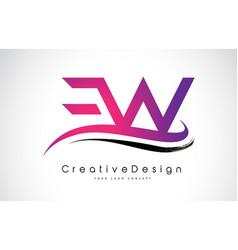 Ew e w letter logo design creative icon modern vector