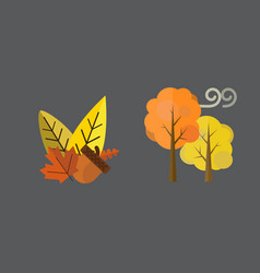 Fall acorn leaves tree rain clouds cold vector
