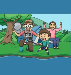 fishing and camping with mom and dad children vector image