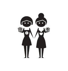 Flat icon in black and white girls with gift vector