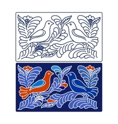 Floral design with two doves vector