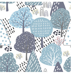 Forest seamless pattern background with winter vector