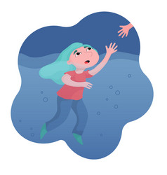 girl drowning in water hand reaching to help her vector image
