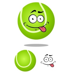 Green cartoon tennis ball with smiling face vector image