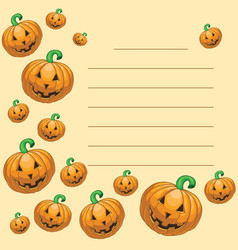 Greeting card with halloween pumpkins vector