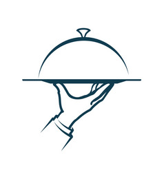 Hand holding a tray menu service logo vector