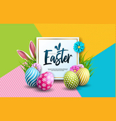 Happy easter holiday with painted egg rabbit ears vector
