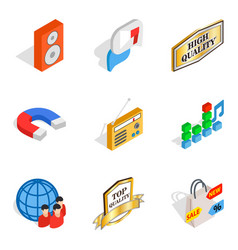 High fidelity icons set isometric style vector