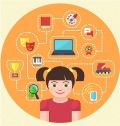 Interests of a Girl vector image