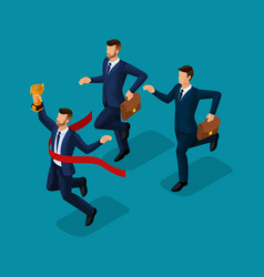 Isometric 3d businessmen with different motion vector