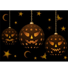 lanterns with halloween faces vector image
