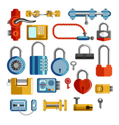locks and door handles isolated objects keys vector image