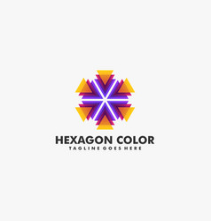 logo abstract hexagon gradient colorful style vector image