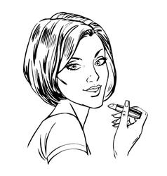 Makeup woman lipstick line art vector