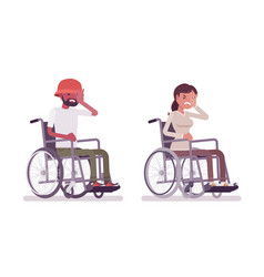 Male female young wheelchair user face palm vector