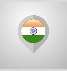 Map navigation pointer with india flag design vector