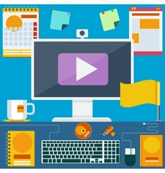 Modern creative office workspace vector
