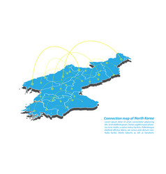 Modern of north korea map connections network vector