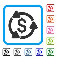 money turnover framed icon vector image