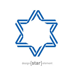 Monocrome blue star from ribbon vector