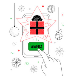 new year gift - line design style vector image