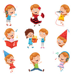 of little party girl vector image