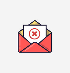 Opened envelope and document with red x mark line vector
