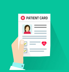patient card flat cartoon vector image