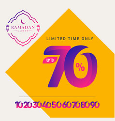 Ramadan kareem discount up to 70 off limited time vector