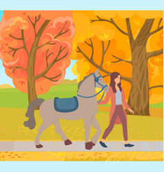 rider and horse in park ride in autumn vector image