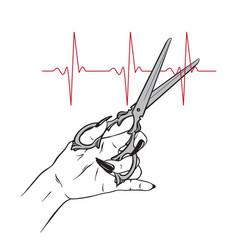 scissors in female hand cutting pulse line vector image