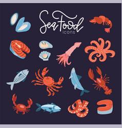 seafood fish menu restaurant icons set with crab vector image