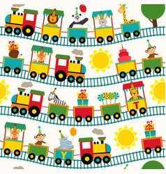 Seamless pattern train with birthday characters vector