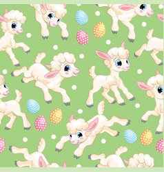 seamless pattern white lambs on green background vector image