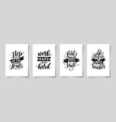Set four hand written lettering positive vector