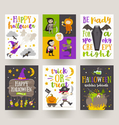 set halloween posters or greeting card vector image