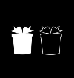 set of black presents silhouettes on black vector image