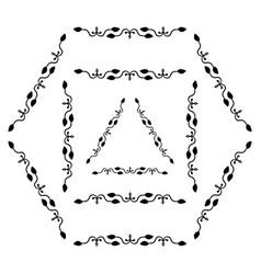 set of decorative ornamental border with corner vector image